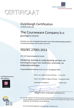 ISO gecertificeerde hosting bij The Courseware Company