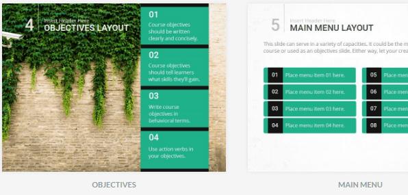 Voorbeeld van 2 slides uit een template.