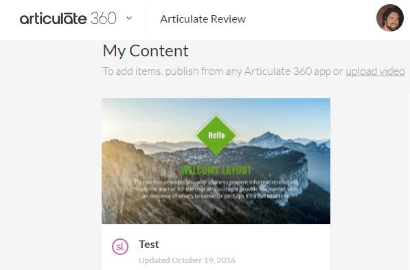 Openingsscherm van Articulate Review 360