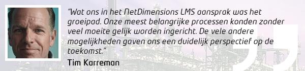 Citaat van Tim Karreman (ECN) over de keuze voor het NetDimensions LMS
