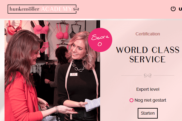 Schermafbeelding uit de leeromgeving met certificaat World Class Service