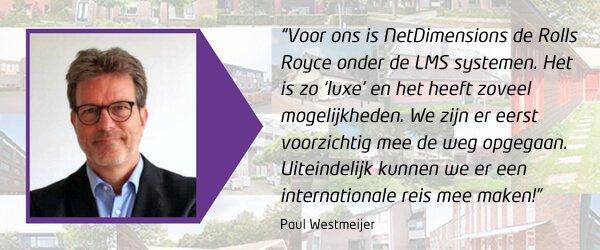Citaat Paul Westmeijer van Philadelphia met lovende woorden over het NetDimensions LMS