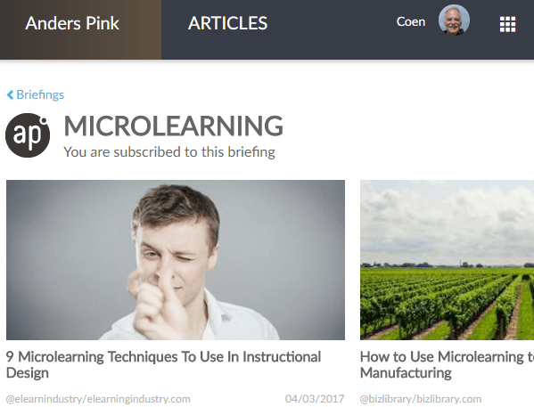 Anders Pink selectie artikelen over microlearning