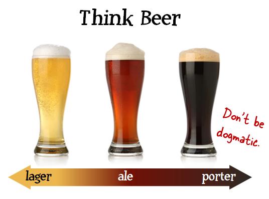 Vergelijking diverse smaken E-learning vs bier. Links lager, midden Ale en rechts Porter bier.