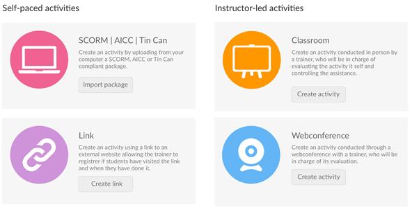 learningCloud LMS activiteiten aanmaken en rangschikken