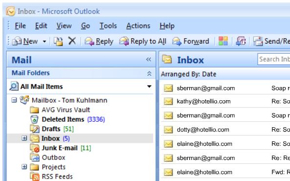 Voorbeeld van een e-mail inbox