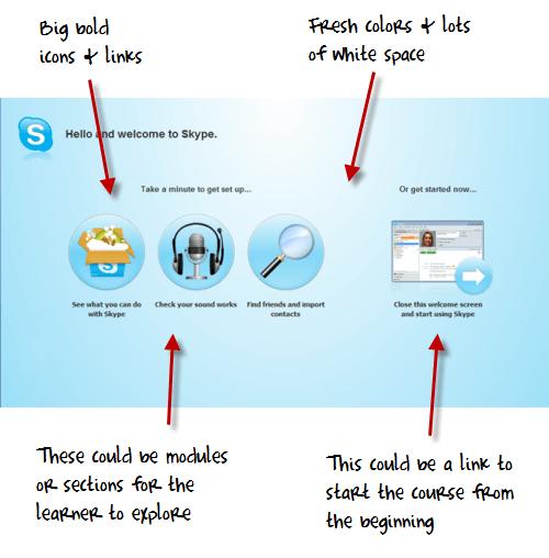 """Het """"Welkom-scherm' van skype is inspirerend voor het ontwikkelen van een E-learning"""