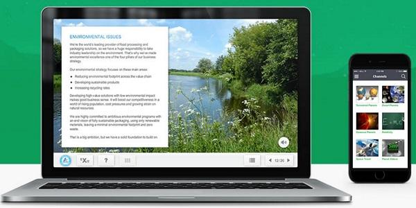 Screenshot van Xyleme LMS met e-learning content in de cloud